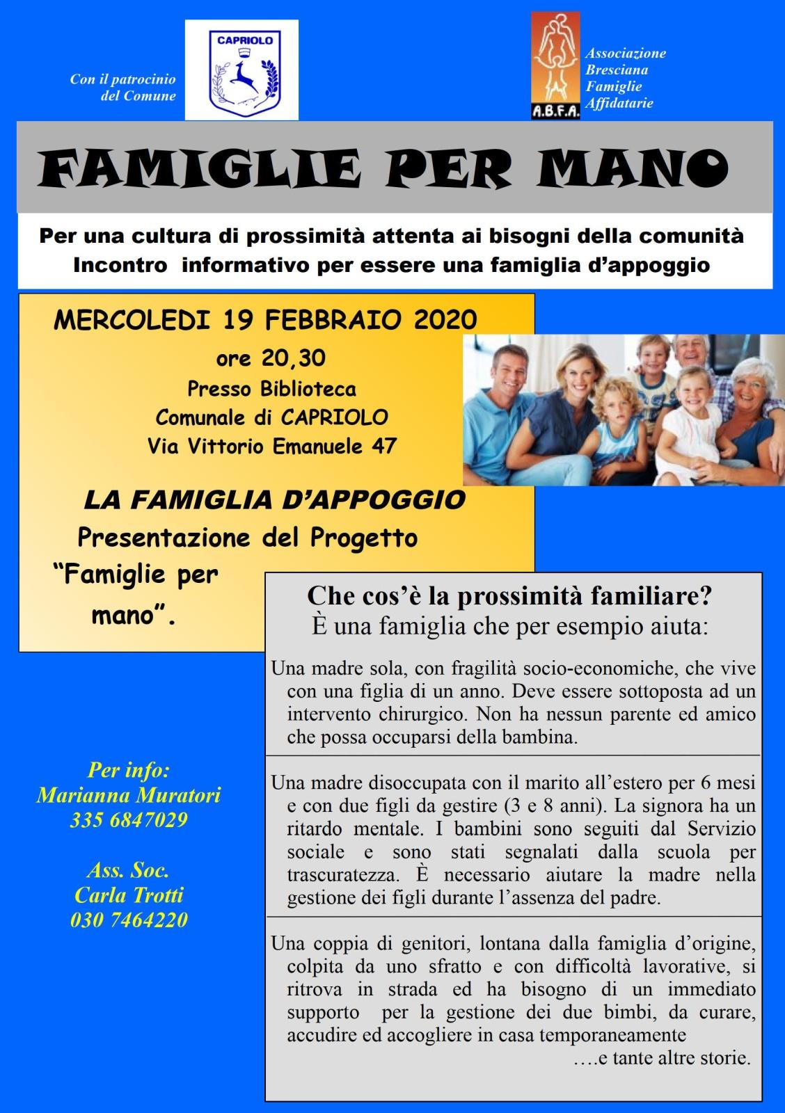 """Famiglie per mano"": serata di presentazione @ Biblioteca di Capriolo"